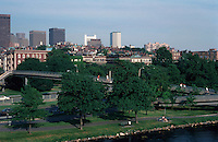 Boston:  Skyline from Charles River Bridge.  Dowtown to left and Beacon Hill to right.  Photo '88.