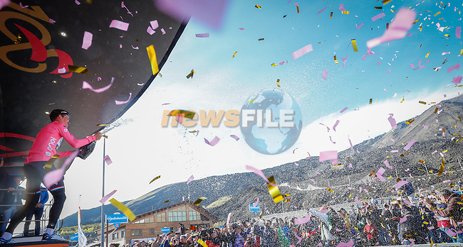 Bob Jungels (LUX) Quick-Step Floors takes over the race leaders Maglia Rosa at the end of Stage 4 of the 100th edition of the Giro d'Italia 2017, running 181km from Cefalu to Mount Etna, Sicily, Italy. 9th May 2017.<br /> Picture: LaPresse/Simone Spada | Cyclefile<br /> <br /> <br /> All photos usage must carry mandatory copyright credit (&copy; Cyclefile | LaPresse/Simone Spada)