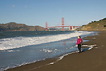 San Francisco: Baker Beach with Golden Gate Bridge in background.  Photo # 2-casanf76417.  Photo copyright Lee Foster