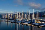 Sailboats on Scenic Bay of Lake Pend Oreille in winter.