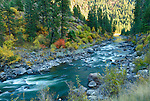 Idaho, Southwest, Horseshoe Bend. The North Fork of the Payette River as it falls into evening shadows in autumn.