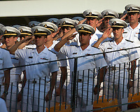 Navy Midshipmen saluting. The Pittsburgh Panthers defeated the Navy Midshipmen 27-14 at Heinz Field, Pittsburgh, PA.