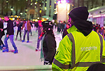 Hours before 2 people are shot at Bryant Park's ice skating rink, approximately 20 Security Guards are on duty that Saturday night. Manhattan, New York, USA. November 9, 2013.