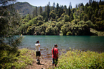 Winnemem tribal members Arron Sisk, left, and Jesse Sisk, right, look over their sacred site that is currently flooded by Shasta Lake, Calif., May 16, 2012..CREDIT: Max Whittaker/Prime for The Wall Street Journal.CEREMONY.