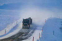 Truckers hauls supplies along the James Dalton Highway in winter, Arctic Alaska