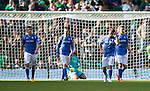 Celtic v St Johnstone...29.08.15  SPFL   Celtic Park<br /> Chris Millar and his fellow St Johnstone players react to Charlie Mulgrew's goal<br /> Picture by Graeme Hart.<br /> Copyright Perthshire Picture Agency<br /> Tel: 01738 623350  Mobile: 07990 594431