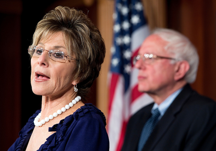 UNITED STATES - MAY 22: Sen. Barbara Boxer, D-Calif., and Sen. Bernie Sanders, I-Vt., hold a news conference in the Capitol on Tuesday, May 22, 2012, to discuss legislation to prohibit banking industry executives from serving as directors of the 12 Federal Reserve regional banks . (Photo By Bill Clark/CQ Roll Call)