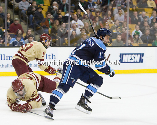 Paul Carey (BC - 22), Johnny Gaudreau (BC - 13), Theo Andersson (Maine - 11) - The Boston College Eagles defeated the University of Maine Black Bears 4-1 to win the 2012 Hockey East championship on Saturday, March 17, 2012, at TD Garden in Boston, Massachusetts.