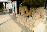 Sculpture of Buddha under barbed wire protection. View of the Takht-i-Bhai Buddhist Monastery in the Swat valley in Pakistan..Taxila, the main centre of Gandhara, is over 3,000 years old. Taxila had attracted Alexander the great from Macedonia in 326 BC, with whom the influence of Greek culture came to this part of the world. Taxila later came under the Mauryan dynasty and reached a remarkable matured level of development under the great Ashoka. During the year 2 BC, Buddhism was adopted as the state religion, which flourished and prevailed for over 1,000 years, until the year 10 AD. During this time Taxila, Swat and Charsadda (old Pushkalavati) became three important centers for culture, trade and learning. Hundreds of monasteries and stupas were built together with Greek and Kushan towns such as Sirkap and Sirsukh, both in Taxila.