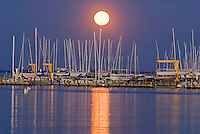 Maryland, Annapolis, boats under moonlight
