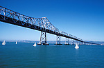 California, CA, San Francisco, Bay Bridge and skyline, between San Francisco and Oakland..Photo caggbr205.    .Photo Copyright: Lee Foster, www.fostertravel.com, 510-549-2202, lee@fostertravel.com