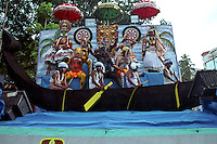 Pulikali festival at Swaraj road in Trichur, Kerala, India..Pulikali or Kaduvvakali is a two hundred year old folk dance form, practised mostly in Thrissur and Palghat districts of Kerala. It liberally makes use of forms and symbols of nature that finds expression in its bright, bold body painting and high-energy dance movements. The philosophy of Pulikali is that human and nature are integral parts of each other. So by fusing man and beast in its artistic language, it flamboyantly celebrates the connection. Arindam Mukherjee
