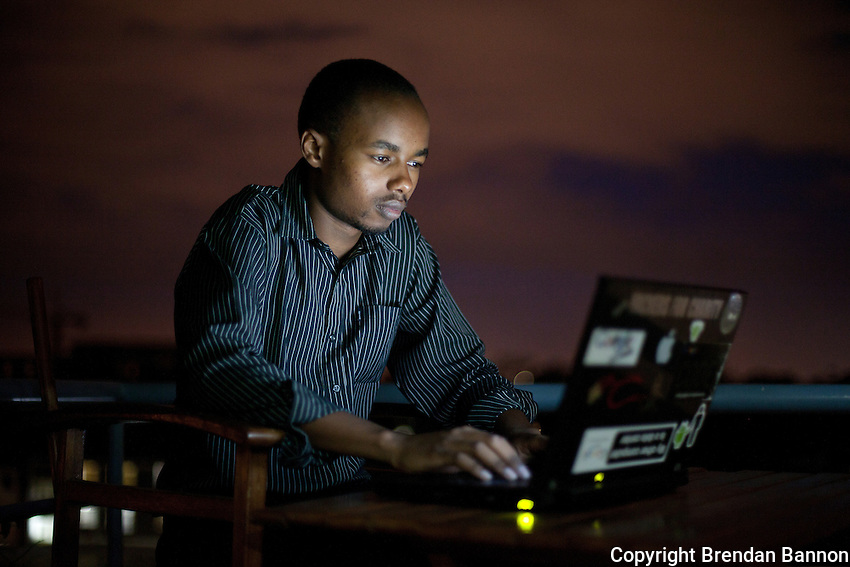 Sammy Njoroge, a mobile app developer at work in Nairobi, Kenya's i-Hub, a creative space for technology incubation where fast internet speeds attract like minded professionals working on mobile, computer and sms applications.
