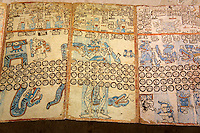 Copy of an ancient Mayan codex, Gran Museo del Mundo Maya museum in Merida, Yucatan, Mexico      .