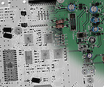 Blended x-ray image of a circuit board by Jim Wehtje, specialist in x-ray art and design images.