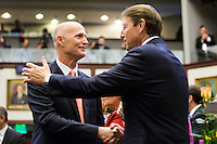 TALLAHASSEE, FLA. 3/3/15-Gov. Rick Scott, left, shakes hands with Sen. Bill Galvano, R-Bradenton, during the opening day of the 2015 Legislative Session Tuesday at the Capitol in Tallahassee.<br /> <br /> COLIN HACKLEY PHOTO