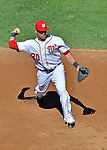 24 September 2012: Washington Nationals shortstop Ian Desmond in action against the Milwaukee Brewers at Nationals Park in Washington, DC. The Nationals defeated the Brewers 12-2 in the final game of their 4-game series, splitting the series at two. Mandatory Credit: Ed Wolfstein Photo