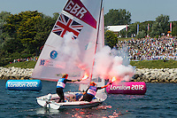 ENGLAND, Weymouth. 10th August 2012. Olympic Games. Women's 470 class. Medal Race. Hannah Mills (GBR) Skipper, Saskia Clark (GBR) Crew, Silver Medalists.