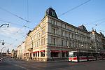 "Café Slavia is a café in Prague, Czech Republic, located on the corner of Národní street and Smetanovo nábřeží, next to the Vltava river and opposite the National Theatre; Opened in 1884, it's considered Prague's ""best-known cafe."""