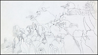 BNPS.co.uk (01202 558833)<br /> Pic: HeritageAuctions/BNPS<br /> <br /> ***Please use full byline***<br /> <br /> Original pencil drawing of the Blue Meanie attack..<br /> <br /> All aboard - A psychedelic snapshot of the swinging sixties is coming up for auction...<br /> <br /> An amazing archive of the original cartoons from the Beatles' surreal animation film Yellow Submarine has emerged for sale for &pound;125,000.<br /> <br /> The collection boasts hand-painted scenes from the iconic 1968 adventure in which the Fab Four travel in the Yellow Submarine to Pepperland to save it from the Blue Meanies.<br /> <br /> Experts have tipped the 80 drawings, each measuring 13.75ins by 10ins, to fetch &pound;125,000 when they go under the hammer in individual lots at Heritage Auctions in Beverly Hills, California.