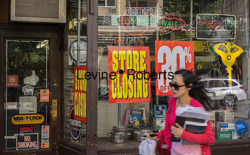 Local hardware store closing along Eighth Street in Greenwich Village in New York on Sunday, May 12, 2013. (© Richard B. Levine)