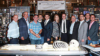 CENTURY CITY, CA, USA - NOVEMBER 14: David Boreanaz, Emily Deschanel, Rupert Murdoch pose at FOX's 'Bones' 200th Episode Celebration With The Cast And Producers held at the Fox Studio Lot on November 14, 2014 in Century City, California, United States. (Photo by David Acosta/Celebrity Monitor)