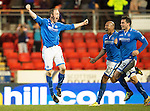 St Johnstone v Ross County...15.03.14    SPFL<br /> Steven Anderson celebrates his goal which the ref gave but the linesman disallowed<br /> Picture by Graeme Hart.<br /> Copyright Perthshire Picture Agency<br /> Tel: 01738 623350  Mobile: 07990 594431