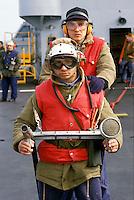 "The Italian aircraft carrier  ""G. Garibaldi"" ..Fireproof service on bridge of flight"