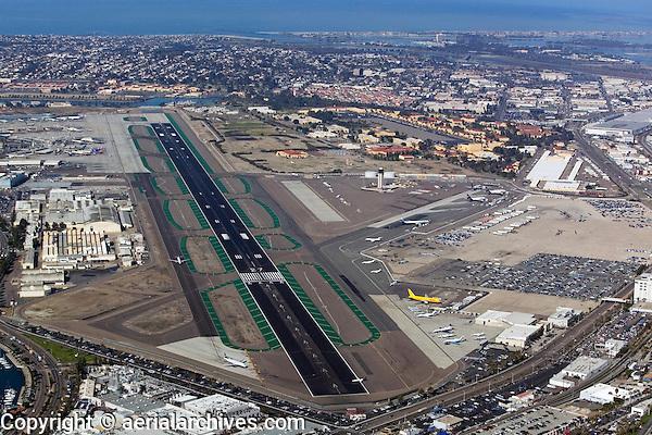 aerial view above Lindbergh Field San Diego International Airport California