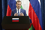 Russian Prime Minister Dmitry Medvedev speaks during a joint news conference with Palestinian President Mahmoud Abbas in the West Bank city of Jericho November 11, 2016. Photo by Shadi Hatem