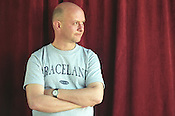 Nick Hornby, author, at the Edinburgh International Book Festival, in Edinburgh, Scotland, in August 2001..Rex 341568 JSU.