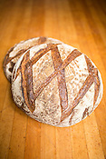 Hillsborough, North Carolina - Friday September 4, 2015 - Two finished loaves of miche bread.