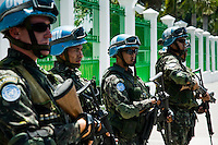 The UN soldiers from Brazil in front of the Presidential Palace in Port-au-Prince, Haiti. The United Nations Stabilization Mission In Haiti (MINUSTAH) is a peacekeeping mission that has been installed in Haiti in 2004 by the United Nations. In spite of the undoubted efforts that have been made by the UN, MINUSTAH soldiers became a symbol of the occupation and therefore they are generally not welcomed by the Haitian population.