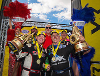 Oct 30, 2016; Las Vegas, NV, USA; NHRA top fuel driver Steve Torrence (left) and funny car driver John Force celebrate after winning the Toyota Nationals at The Strip at Las Vegas Motor Speedway. Mandatory Credit: Mark J. Rebilas-USA TODAY Sports