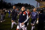 """March 14, 2009. Cary, NC.. The Carolina Railhawks went home in foul weather with a  1-0 victory over the New England Revolution of the MLS, in the inaugural """"Community Shield"""" match and their first professional outing under new coach, Martin Rennie. . The Revolution and Railhawks take the field."""