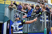 Leroy Houston of Bath Rugby chats to supporters after the match. Aviva Premiership match, between Bath Rugby and Exeter Chiefs on October 17, 2015 at the Recreation Ground in Bath, England. Photo by: Patrick Khachfe / Onside Images