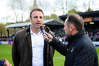 Danny Grewcock is interviewed at half-time. Aviva Premiership match, between Bath Rugby and Sale Sharks on April 23, 2016 at the Recreation Ground in Bath, England. Photo by: Patrick Khachfe / Onside Images