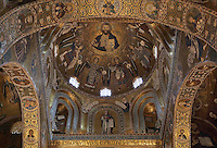Christ with angels, Norman-Byzantine mosaics of a cupola of the apse of the Cappella Palatina (Palatine Chapel), 1130 - 1140, by Roger II, within the Palazzo dei Normanni (Palace of the Normans), Palermo, Sicily, Italy. Picture by Manuel Cohen