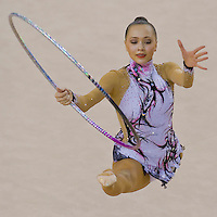 Anna Alyabyeva (KAZ) performs with the hoop during the final of the 2nd Garantiqa Rythmic Gymnastics World Cup held in Debrecen, Hungary. Sunday, 07. March 2010. ATTILA VOLGYI