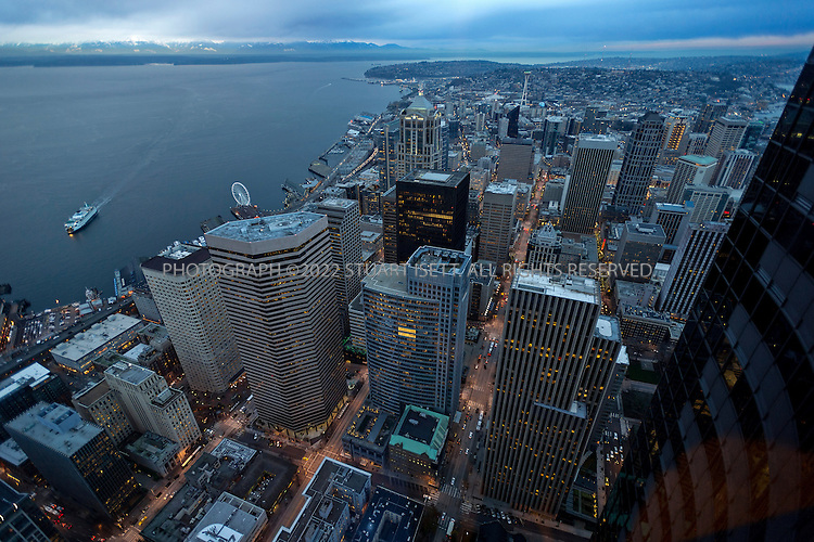 1/3/2013--Seattle, WA, USA..Views of downtown Seattle from the 73rd floor of the Columbia tower, the tallest building in Seattle, where best selling book ?Fifty Shades of Grey? has a scene with the main characters Ana and Christian at the ?Mile High Club? on the 78th floor in the Columbia tower ? in real life it's called the Columbia Tower Club (a private, members only club) and it's on the 75th floor...The best selling book ?Fifty Shades of Grey?, by British author E.L. James (real name: Erika Leonard), is set in downtown Seattle in the luxury condominium building Escala where where the submissive-domination sexual relationship between billionaire Christian Grey and naïve college student Anastasia Steele takes place...©2012 Stuart Isett. All rights reserved.