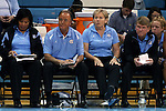 04 November 2015: UNC head coach Sylvia Hatchell (second from right) with staff members (from left) Tracey Williams-Johnson, Bill Lee, and Andrew Calder. The University of North Carolina Tar Heels hosted the Wingate University Bulldogs at Carmichael Arena in Chapel Hill, North Carolina in a 2015-16 NCAA Women's Basketball exhibition game. UNC won the game 86-84.