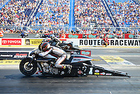 Jul. 1, 2012; Joliet, IL, USA: NHRA pro stock motorcycle rider Eddie Krawiec during the Route 66 Nationals at Route 66 Raceway. Mandatory Credit: Mark J. Rebilas-