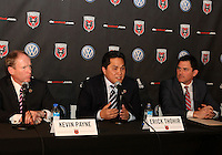 WASHINGTON, DC-JULY 10,2012:  Kevin Payne, Erick Thohir, Jason Levien during a D.C. United ownership press conference at the POV Lounge in the W Hotel, Washington, DC.