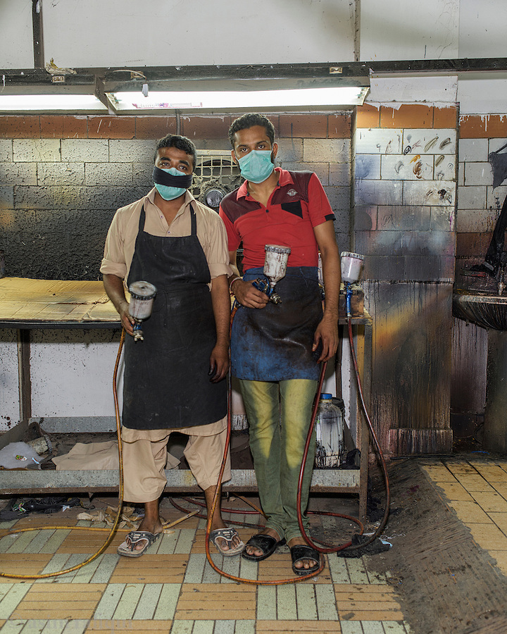 The paint shop - leather jackets are spray painted to the tones and color ranges specified by the customers.