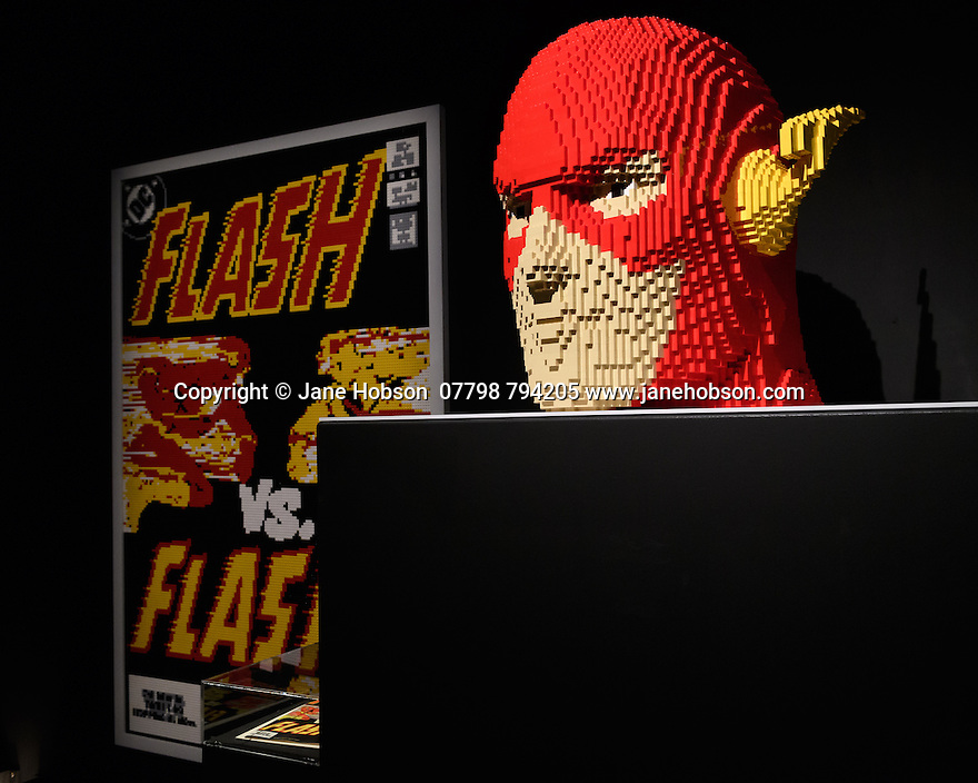 THE ART OF THE BRICK: DC SUPER HEROES - Artist Nathan Sawaya returns to London with the world's largest LEGO exhibition, inspired by Batman, Superman, and Wonder Woman. The exhibition opens, in a purpose-built marquee in Doon Street car park, Upper Ground, on the South Bank. Picture shows: The Flash Bust and The Flash Cover.