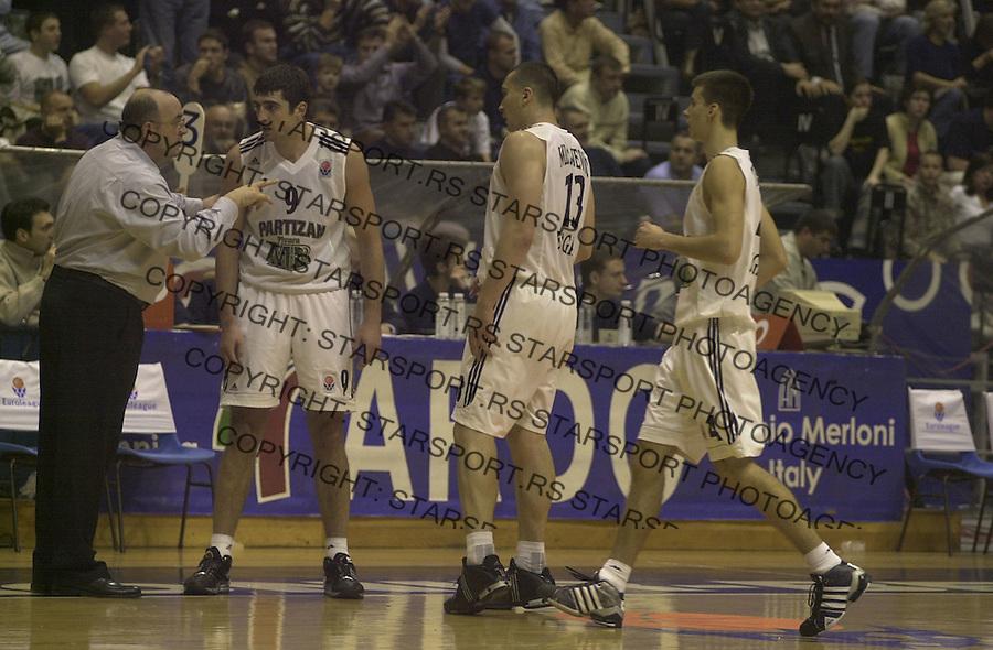 SPORT KOSARKA PARTIZAN PROKOM TREFL SPORT EVROLIGA EUROLEAGUE  Vujosevic 3.11.2004. foto: Pedja Milosavljevic