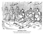 """Unrecorded History. A review of the Royal (Sub)Marines near the Goodwin Sands. (You could hardly """"tell the Marines"""" in their new sub-aqueous uniform.) (an Edwardian cartoon shows an underwater military inspection with all wearing deep sea diving suits)"""