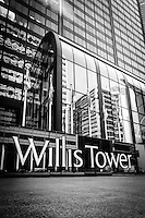 Chicago Willis Tower sign (Sears Tower) in black and white. Willis Tower is one of the tallest buildings in Chicago and the world.