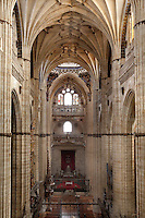 High angle view, interior, New Cathedral, Salamanca, Spain, pictured on December 19, 2010, showing the elegant high pillars supporting the decorated ceiling which leads to the Cupola. Salamanca, Spain's most important University city,  has two adjoining Cathedrals, Old and New. The old Romanesque Cathedral was begun in the 12th century, and the new in the 16th century. Its style was designed to be Gothic rather than Renaissance in keeping with its older neighbour, but building continued over several centuries and a Baroque cupola was added in the 18th century. Restoration was necessary after the great Lisbon earthquake, 1755. Picture by Manuel Cohen