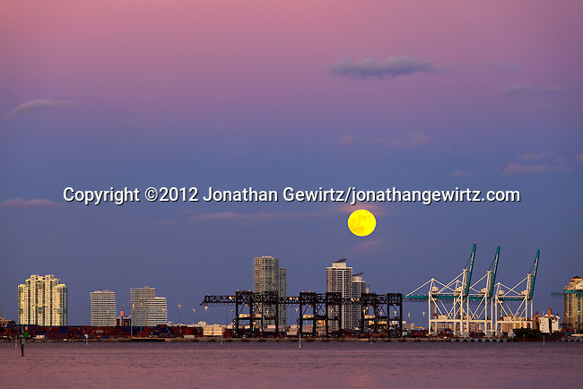 The full moon rises over the Port of Miami, Florida and Miami Beach condo buildings in the background on October 29, 2012.